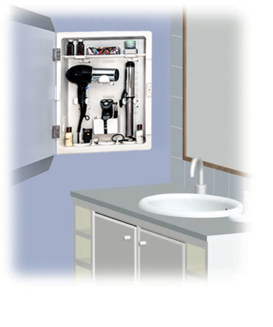 Occupying The Same Space As A Standard Medicine Cabinet In The Vanity Area  Or Bathroom, The Center Features A Patented Pulley Design That Manages  Electrical ...